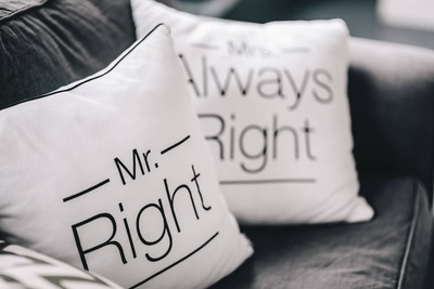 kaboompics_Mr Right and Mrs Always Right Pillow
